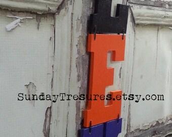 EEK Wood Sign, Door Decor Wall Hanging, Halloween Banner Sign Decor, Black Orange Purple, Ready To Ship