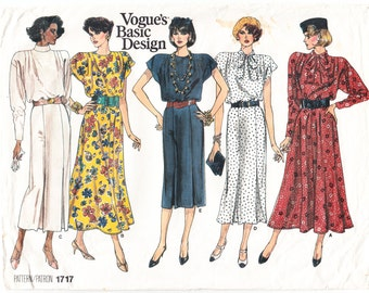 Classic 1986 Vogue 1717 Sewing Pattern Misses' Dress Size 20-22-24 Bust 42-44-46