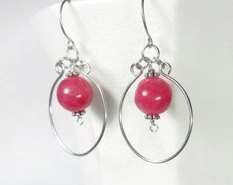 Pink Hoop Earrings, Bright Pink Earrings, Sterling Silver