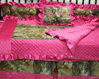 Hot pink minky real tree or mossy oak Crib bedding-Free personalized pillow