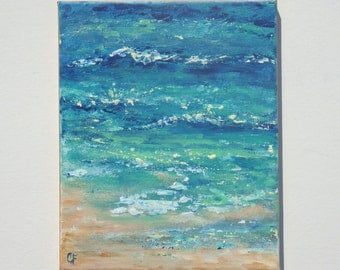 Beach painting of shoreline in aqua, blue, tan, with seafoam and sand, 8x10 small ocean painting