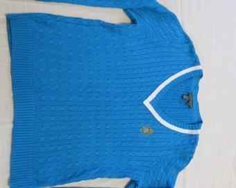 VINTAGE - Ralph Lauren V-Neck Sweater - Turquoise Blue - Size Large