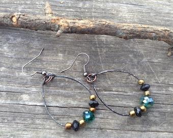 Lovely Hand Forged Hand Made Beaded Dangle Earrings