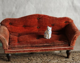 dollhouse miniature cat, artisan made vintage porcelain cat