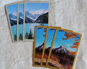 Vintage Mountain Majesty, six trade swap playing cards, three of each, art supply cards