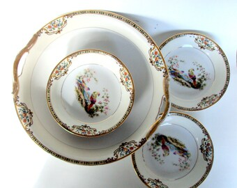 Vintage Noritake,Morimura Bros, 1920 Porcelain,Chelsea Pattern, U.S.Pat.,Fruit Bowl and 6 Fruit Dishes,Dining Serving,Birds Flowers,Pheasant