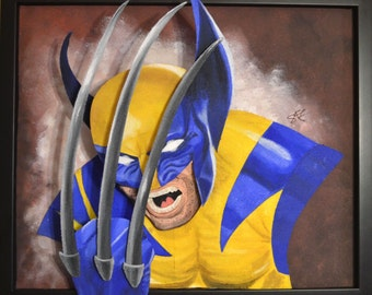Wolverine Mixed Media Art Felt Portrait X-Men 18x22in