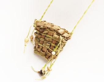 Primitive Bark Basket Necklace, Rustic Wild Statement Necklace. Crude Handmade, Native American Style Woven Light Green Celery Tan BARK11