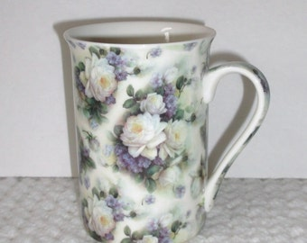 English Chintz Cup..Leonardo Collection China Mug..Purple and White Floral Porcelain Cup