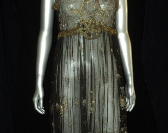 Antique 1920's Metallic Lace Dress Gold and Silver Art Deco High Fashion Couture Handmade Lame High Waist