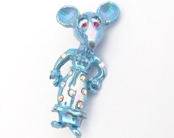 Vintage Mouse Pin, Vintage Mouse, Figural Brooch, Blue Enamel Rhinestone Pin, Rodent Rat Mouse Figural, Petite Vintage Jewelry
