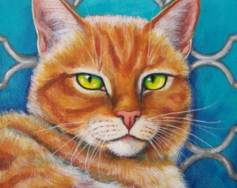 Orange Tabby Cat with Quatrefoil Background Giclee Print of my Original Art Painting