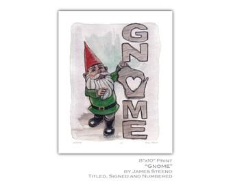 Gnomes Love Wisconsin Pride Watercolor Art Print by James Steeno