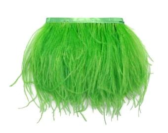 Ostrich Fringe, 1 Yard - LIME GREEN Ostrich Fringe Trim Wholesale Feather (bulk) : 3313
