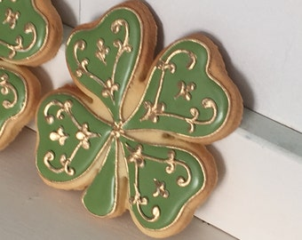 St. Patrick's Day Four Leaf Clover Decorated Cookies - 1 Dozen