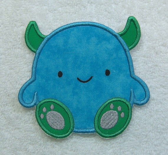 Little monster fabric embroidered iron on applique patch ready for Baby monster fabric