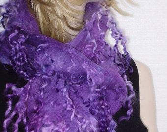 50%off with coupon code -Felted Fur Curly Scarf  Boa Attractive Fiber art  Irregular Felt Light Violet Crocus with fringes