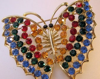 15% OFF SALE 1960s Butterfly Rhinestone Brooch Multi Colored Vintage Costume Jewelry Jewellery