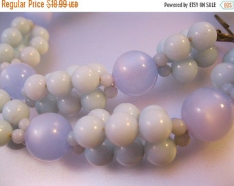 15% OFF SALE 1950s Pale Blue Moonglow Lucite Bead Necklace Choker Vintage Jewelry Jewellery