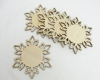 """Wooden snowflake large DIY 4"""" set of 5"""