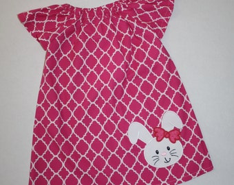 Easter dresses for girls hot pink quatrefoil peasant dress with bunny applique, girls easter dress, easter outfit, sisters, sibling outfit