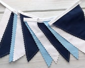 Garland Bunting Banner Baby Boy Nursery Decor Baby Shower Photography Props Party Decorations Fabric Bunting Light Blue Navy Blue White