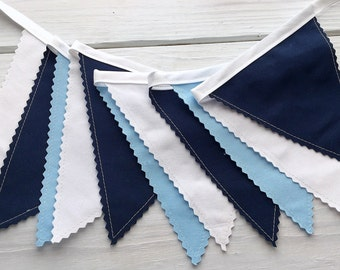 Bunting Fabric Banner, Fabric Flags, Boy Nursery Decor, Birthday Decoration, Photography Prop - Baby Blue, Navy Blue, White, Light Blue