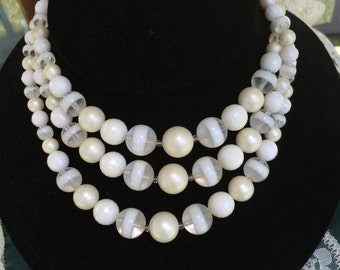 Vintage 1950's Midcentury White Ivory Triple Strand Ladies Choker Necklace
