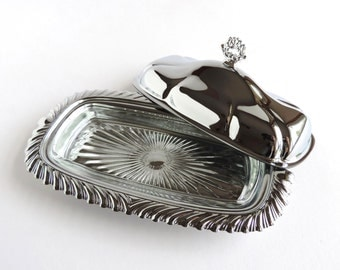 Vintage Shelton-Ware Covered Butter Dish with Glass Insert, Three 3-piece Chrome Serveware, Kitchen Tabletop Accessory