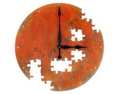 Puzzle V, Extra Large Wall Clock, Rusted Wall Clock, rustic wall clock, unique wall clock, modern wall clock, steampunk wall clock