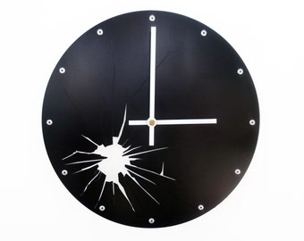 Shattered Metal, Medium, Unique Wall Clock, Modern Wall Clock, Steampunk, Industrial Wall Art, Laser Cut, Cool Home Decor, Clock Face, Black