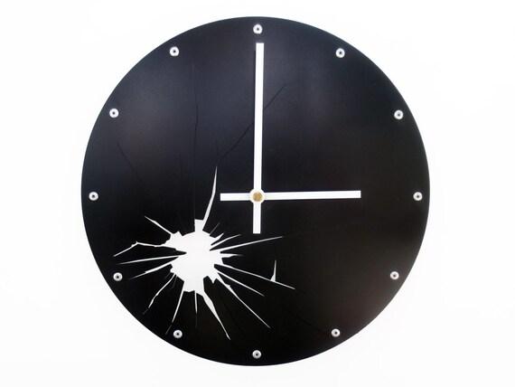 Shattered Metal, Medium Wall Clock, Painted Black, unique wall clock, modern wall clock, steampunk wall clock, industrial clock