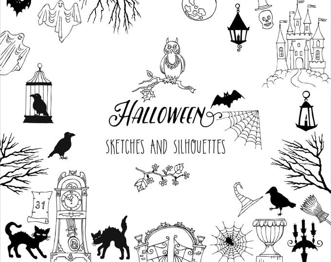 Halloween. Sketches and Silhouettes.Digital clip art with pumpkin, cat, ghost, hours, castle, moon, autumn
