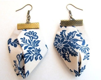 LetsPartySale Floral fabric earrings, Blue on white English fiber earrings, Origami handmade earrings, Geometric statement earrings, unique