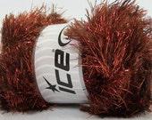 100 Gram Copper Brown Eyelash Dazzle Yarn #42257 Ice Metallic Fun Fur 153 yds - Brown Long Eyelash Yarn with Metallic Copper Eyelash Yarn