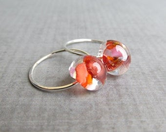 Mottled Coral Earrings, Coral Hoop Earrings, Small Hoops, Small Wire Earrings, Lampwork Earrings, Sterling Silver Earrings, Glass Earrings