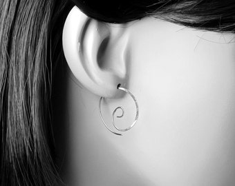 Small Silver Spiral Earrings, Spiral Silver Hoop Earrings, Spirals Sterling Silver, Spiral Hoops, Minimalist Earrings, Silver Wire Spirals