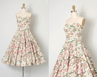 vintage 1950s dress / strapless floral print cotton 50s dress / Autumn Gardening
