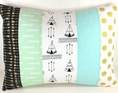 Pillow Cover, Patchwork Pillow Cover, Teepee, Arrow, Tribal, Nursery Decor, 12 x 16 Inches, Mint Green, Aqua Blue, Gold, Black, Tribal