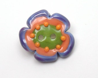 Lampwork glass button, Purple lampwork button, art glass button, folk art button, apricot lampwork button