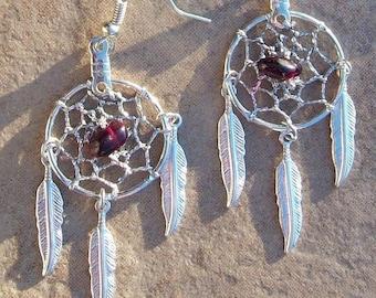 ON SALE DREAMY silver dream catcher earrings with garnet