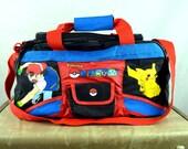 Vintage RARE 90s Pokemon Club Kid Duffel Bag Tote Shoulder Bag - Pikachu Jigglypuff Squirtle