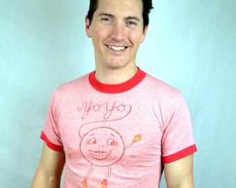 Vintage 1970s 70s Pink Red Ringer Tee Shirt Tshirt - Yo-yo