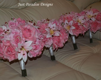Wedding Bouquet Set -  Roses AND lily - Pinks