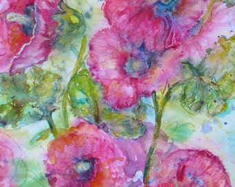 hollyhock painting, original flower watercolor, pink hollyhock art, floral garden watercolor painting, abstract painting, abstract hollyhock