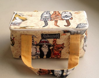 BEACH CATS  Knitting Project Bag with Zipper rectangle