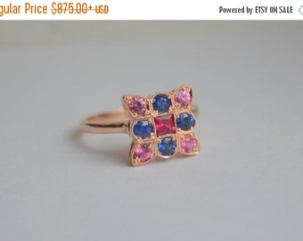 SALE Antique Style 9 Stone Ring in 14 K Rose Gold with Spinel and Sapphire
