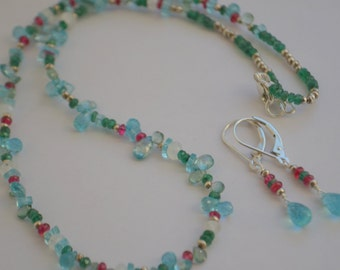 Beaded Apatite, Burma Spinel and Emerald Necklace with Sterling Silver and Free Earrings