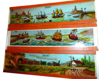 Three Magic Lantern Slides. Ships and Trains Theme. Antique German Magic Lantern Slides. Very Old Glass Slides. Late 19th Century.
