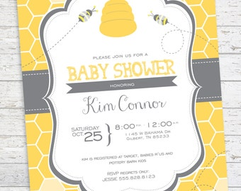 Baby Shower Invitation Bee and Honey Comb Bumble Bee Baby Shower Invitation Beehive Invitation DIGITAL PRINTABLE FILE